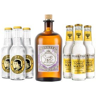 Monkey 47 Gin 1x0,5l mit Thomas Henry Tonic 3x0,2l und Fever Tree Tonic 3x0,2l