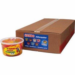8 große Dosen Haribo Aktionspaket Frösche, Schlümpfe, Happy Cola, Gurken, Happy Cherrie, Riesen Erdbeeren,Fruchtkracher, Fruchtschnecken