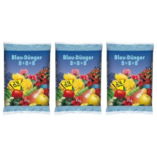 Blaudünger Gartendünger 8+8+8 Blaukorn Obst Gemüse 3x5kg