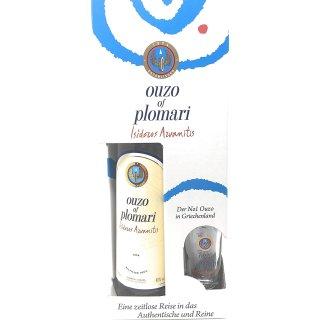 Ouzo of Plomari 1x0,7l Flasche (inkl. Geschenkbox mit einem Glas)